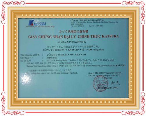 Chứng nhận Đại lý chính thức của Katsura JSC