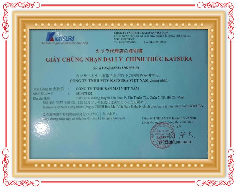 Chứng nhận Gas Ban Mai là Đại lý chính thức của Katsura Việt Nam